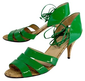Olivia Morris Green Patent Leather Cork Heels Sandals