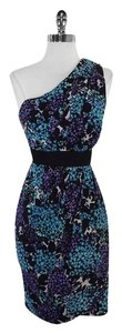 Shoshanna short dress Blue Purple Black Floral on Tradesy