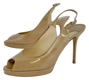 Jimmy Choo Nude Nova Patent Leather Sandals