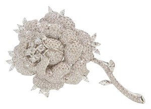 Vintage Van Cleef & Arpels Style 18k White Gold & Pave Diamond Rose Bud Brooche Brooch Pin