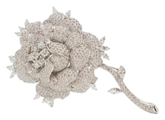 Other Van Cleef & Arpels 18k White Gold & Pave Diamond Rose Bud Pin