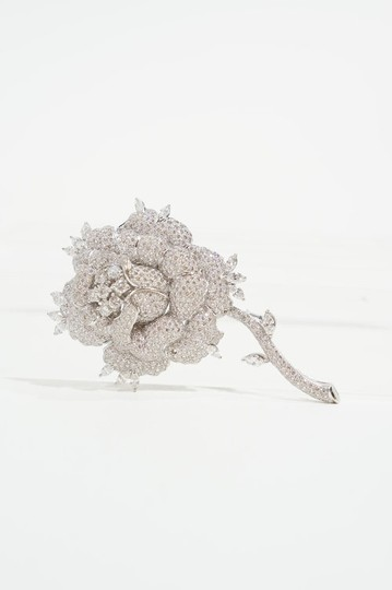 Other Van Cleef & Arpels 18k White Gold & Pave Diamond Rose Bud Pin Image 2