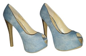 Scene Weaver Denim Blue Pumps