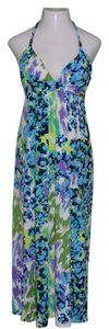 Multi-Color, White, Purple, Turquoise Blue, Navy, Green Maxi Dress by Alyn Paige Stretchy Maxi Halter Floral Sundress