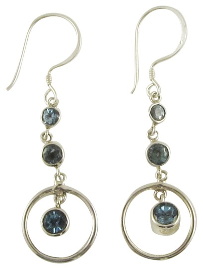 Island Silversmith Island Silversmith Triple Blue Topaz 925 Silver Circle Earrings 0201K *FREE SHIPPING*