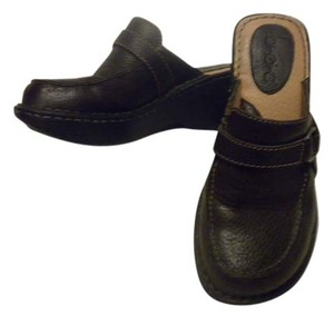 B.O.C. Leather Comfortable Wedge Brown French Roast Mules