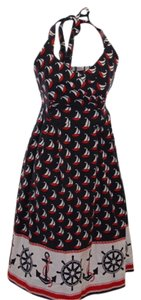 Anthropologie short dress Navy blue, red and white Sail Away Boats Nautical on Tradesy