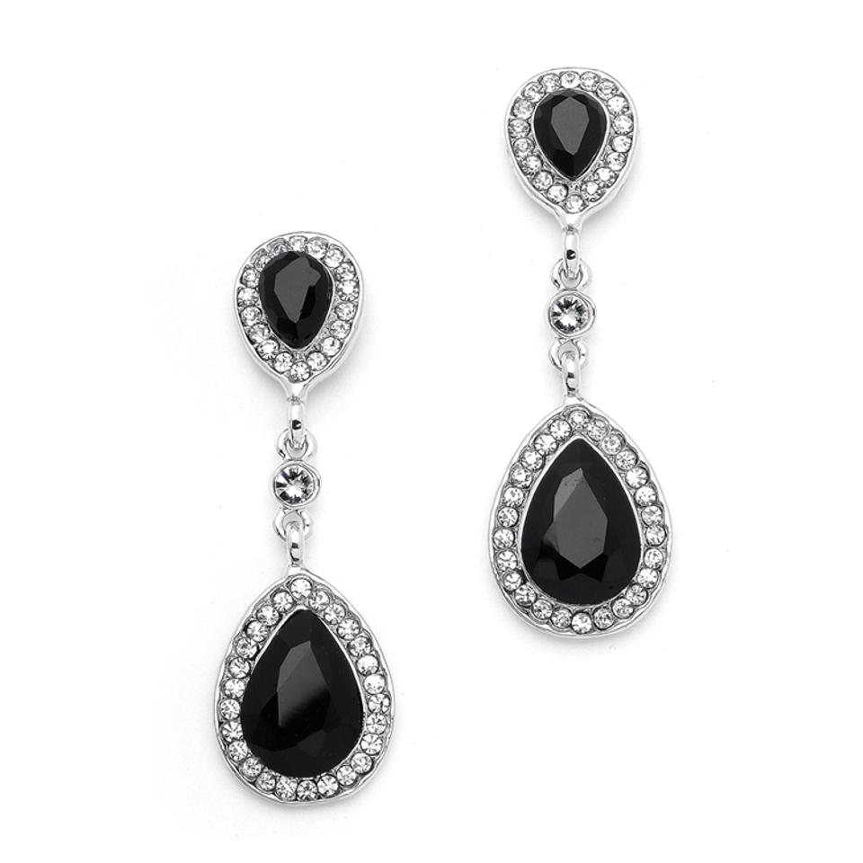Mariell Black Jet Crystal Pear Shaped Vintage Dangle 4543e Je S Earrings