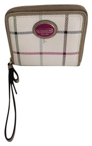 Coach Tartan Plaid Zip Around Medium Wallet Wristlet