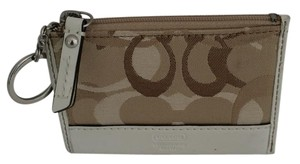Coach OP TRI C KEY CHAIN COIN WALLET BEIGES