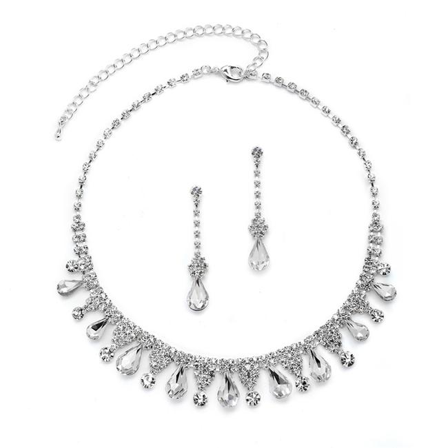 Item - Silver Rhinestone Necklace with Pear-shaped Crystals 4546s-cr-s Jewelry Set