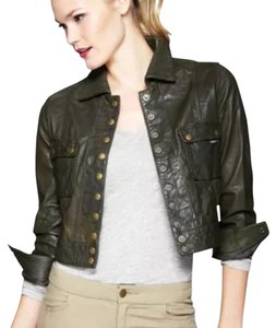 Members Only Olive green Leather Jacket