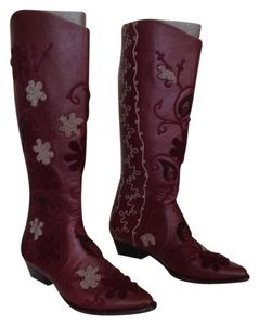 Artemis Handmade In Turkey Embroidered Fully Lined With Goat Skin Leather Oxblood Boots