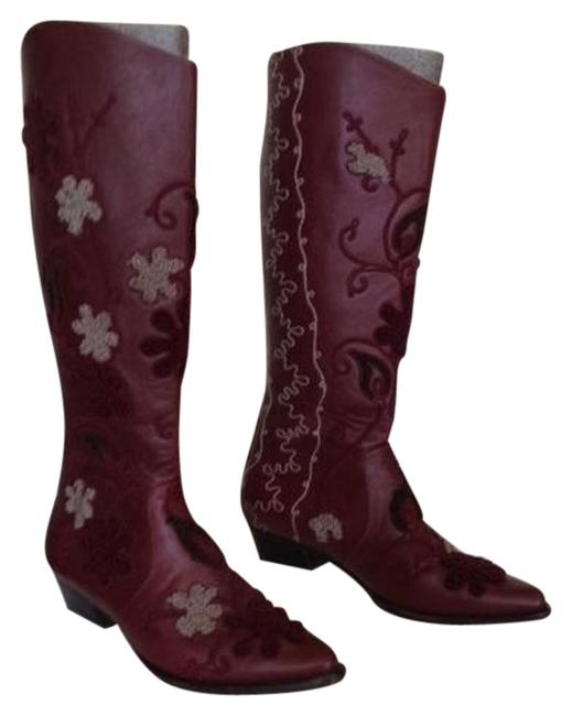 Item - Oxblood Handmade In Turkey Embroidered Fully Lined with Goat Skin Leather Boots/Booties Size US 9.5 Regular (M, B)
