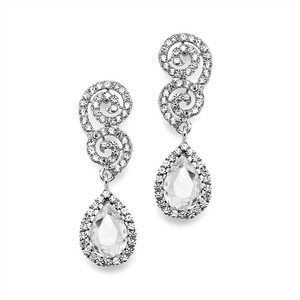Mariell Best Selling Crystal Scroll Wedding Or Prom Earrings With Crystal Teardrop 4230e-cr