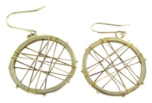 Other 14KT KARAT YELLOW SOLID GOLD EARRINGS CIRCLE HOOP DANGLE 3.7 GRAM MODERN DESIGN
