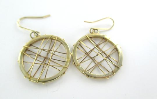 Other 14KT KARAT YELLOW SOLID GOLD EARRINGS CIRCLE HOOP DANGLE 3.7 GRAM MODERN DESIGN Image 1