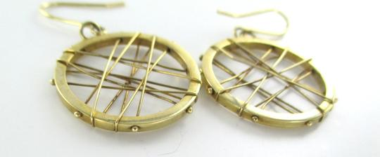 Other 14KT KARAT YELLOW SOLID GOLD EARRINGS CIRCLE HOOP DANGLE 3.7 GRAM MODERN DESIGN Image 2