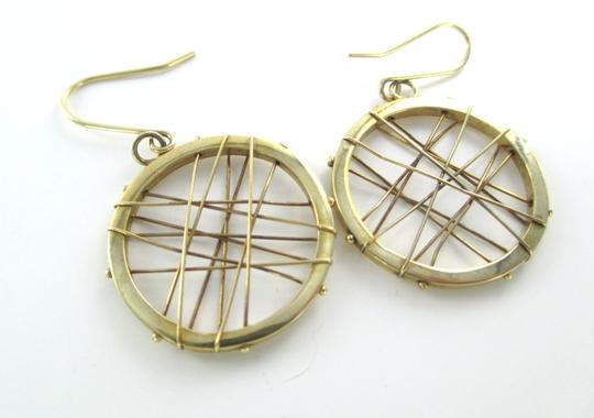 Other 14KT KARAT YELLOW SOLID GOLD EARRINGS CIRCLE HOOP DANGLE 3.7 GRAM MODERN DESIGN Image 3