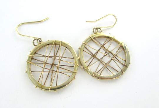Other 14KT KARAT YELLOW SOLID GOLD EARRINGS CIRCLE HOOP DANGLE 3.7 GRAM MODERN DESIGN Image 4
