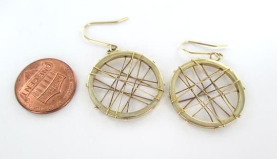 Other 14KT KARAT YELLOW SOLID GOLD EARRINGS CIRCLE HOOP DANGLE 3.7 GRAM MODERN DESIGN Image 5