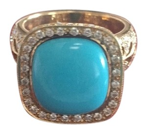 Solid 18k yellow gold Turquoise & Diamond Ring Comes With Appraisal