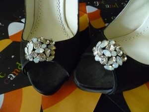 Benjamin Adams New Year Clearance Sale Black Silk Shoes With Swarovski Brooch Wedding Shoes