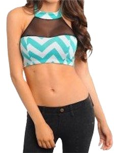 green ivory black Halter Top