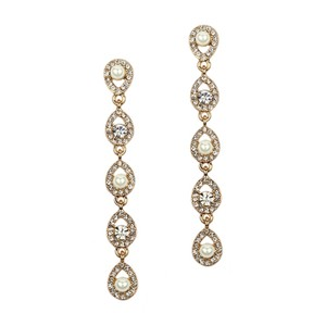 Mariell Gold Linear Teardrop Pearl And Crystal Dangle Earrings 4518e-i-g