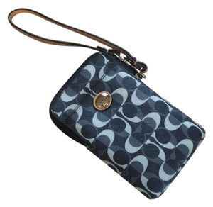 Coach Wristlet in Black, gray, and blue