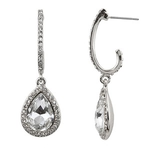 Mariell Pave Arc Earrings With Framed Crystal Teardrops 4519e-cr-s