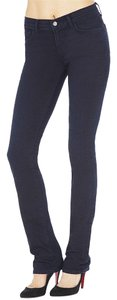 J Brand Midrise Cotton Dark Wash Skinny Straight Leg Jeans-Dark Rinse