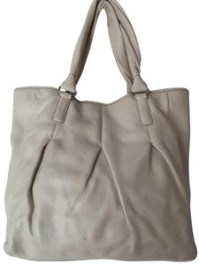 Cole Haan Stitching Is Perfect Soft Leather Holds A Lot Neutral Color Tote in BEIGE
