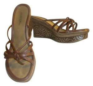 Xappeal Wedge Flower Detail Platform Summer Brown Sandals
