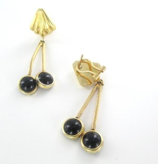 Other 14KT SOLID YELLOW GOLD EARRINGS WITH ONYX DANGLE Image 1