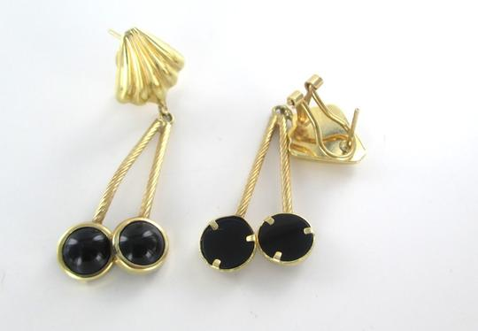 Other 14KT SOLID YELLOW GOLD EARRINGS WITH ONYX DANGLE