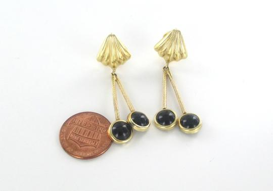 Other 14KT SOLID YELLOW GOLD EARRINGS WITH ONYX DANGLE Image 3