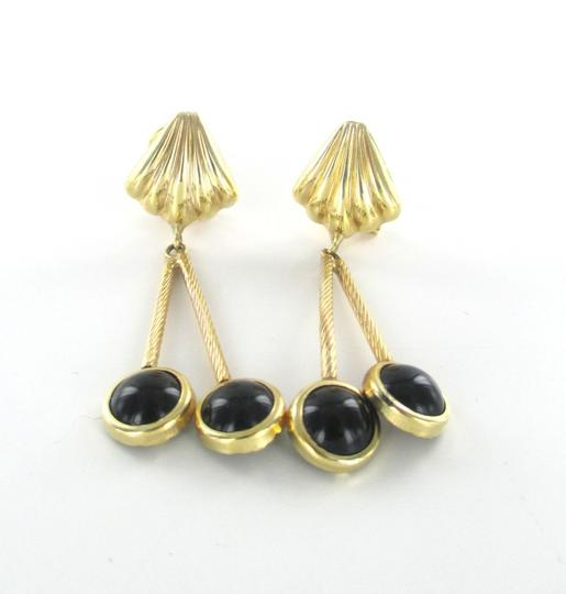 Other 14KT SOLID YELLOW GOLD EARRINGS WITH ONYX DANGLE Image 4
