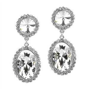 Mariell Bold Oval Drop Earrings With Rivoli Studs 4521e-cr-s