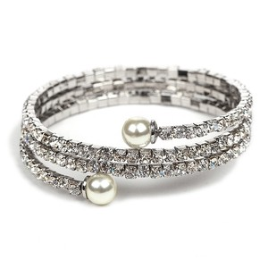 Mariell Gorgeous Crystal Rhinestone Coil Bracelet With Soft Cream Pearls 4522b-sc-s