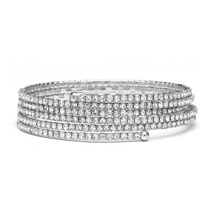 Mariell Silver Top-trending Stackable-look Rhinestone Coil 4132b-s Bracelet