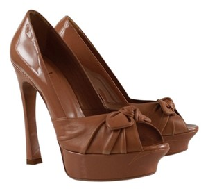 Saint Laurent Ysl Yves Patent Leather Nude Pumps