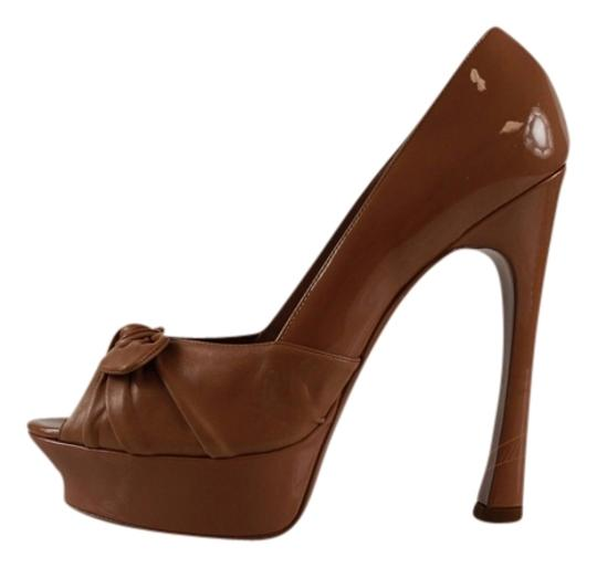 Saint Laurent Ysl Yves Nude Patent Leather Brown Pumps Image 1