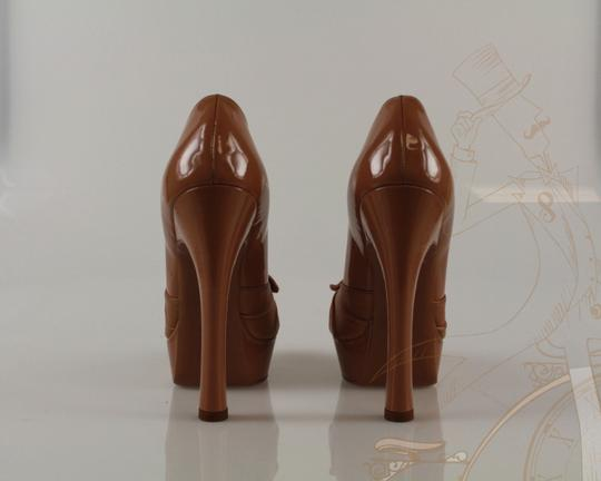 Saint Laurent Ysl Yves Nude Patent Leather Brown Pumps Image 2