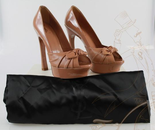 Saint Laurent Ysl Yves Nude Patent Leather Brown Pumps Image 7