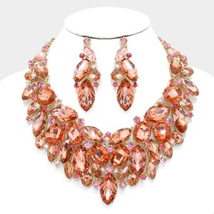 Striking Peach And Gold Rhinestone Crystal Statement Necklace And Earrings