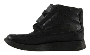 Moschino Love Ostrich Nero Leather High Top Sneakers Art 21879 Black Athletic