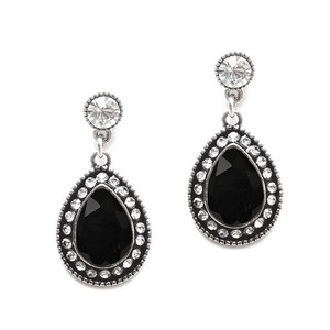 Mariell Jet Black Vintage Designer Teardrop Earrings 4525e-je