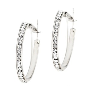 Mariell Silver Channel-set Crystal Hoop 4526e-cr-s Earrings