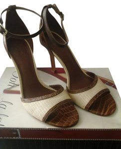 Tory Burch Cream/Brown Sandals